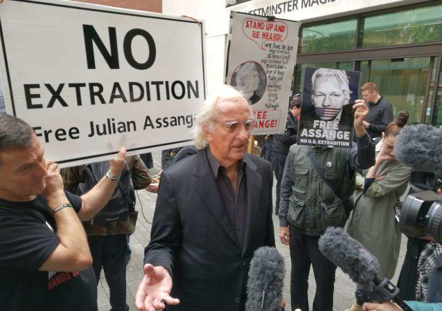 BAFTA award-winning documentary film maker John Pilger at protests in London against WikiLeaks' founder's Julian Assange's extradition