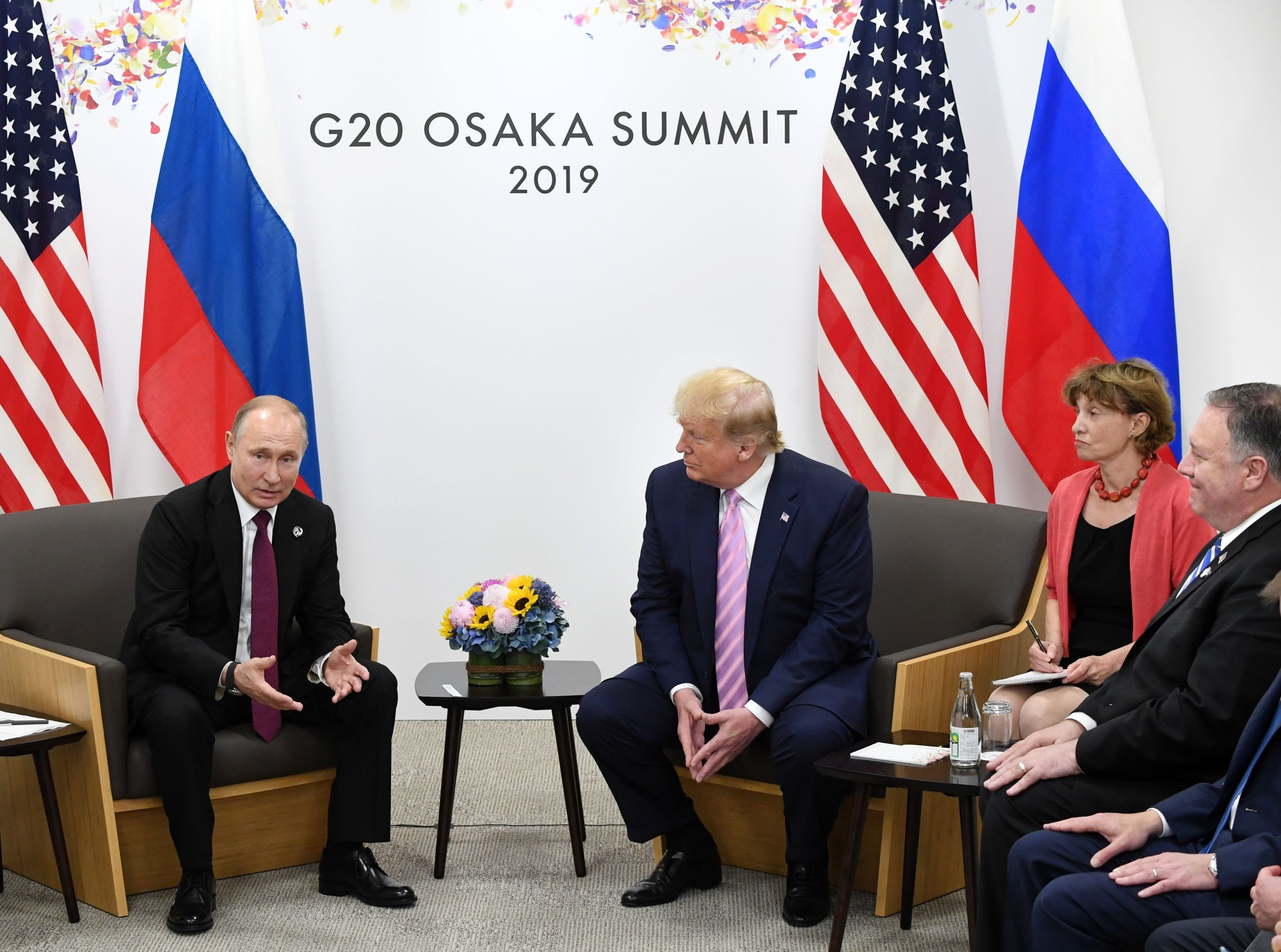 Russian President Vladimir Putin and U.S. President Donald Trump shake hands during a bilateral meeting at the at the Group of 20 (G20) leaders summit in Osaka, Japan