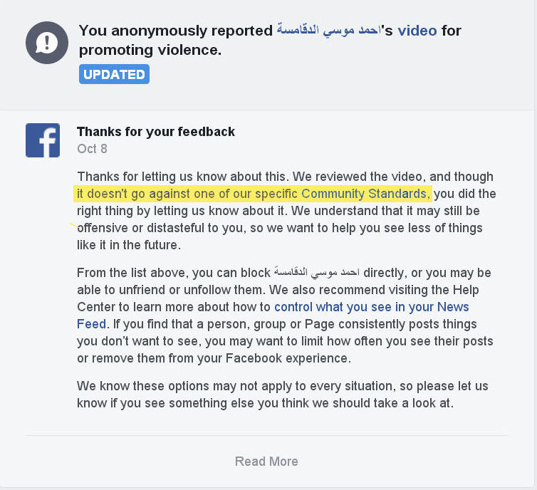 You anonymously reported video for promoting violence