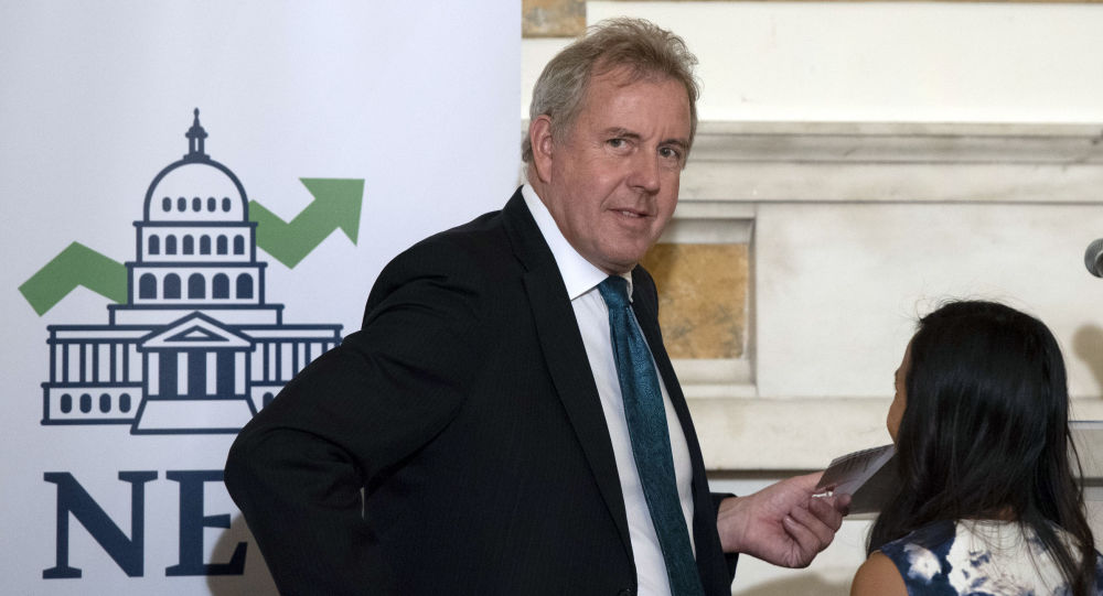 British Ambassador Kim Darroch hosts a National Economists Club event at the British Embassy in Washington. Leaked diplomatic cables published Sunday, July 7,2 019