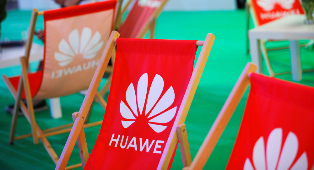 The Huawei logo is pictured on the company's stand during the 'Electronics Show - International Trade Fair for Consumer Electronics' at Ptak Warsaw Expo in Nadarzyn, Poland, May 10, 2019