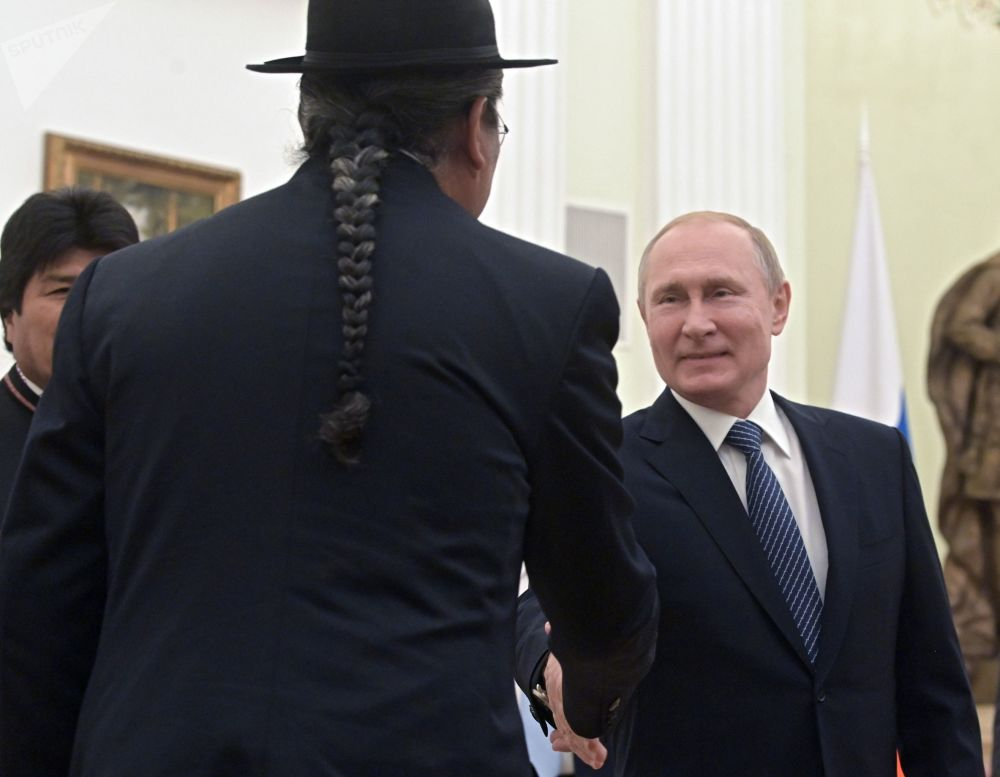 President of Russia Vladimir Putin during a meeting with Bolivian President Evo Morales