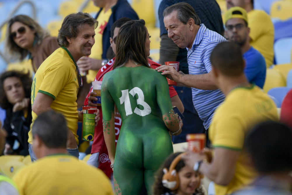 Fans of Brazil chat before the start of the Copa America football tournament final match against Peru at Maracana Stadium in Rio de Janeiro, Brazil, on July 7, 2019.
