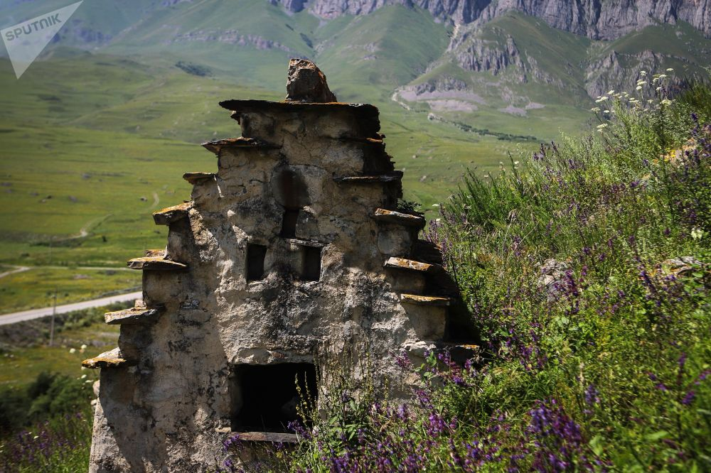 A tomb on the territory of the 'City of the Dead' in Russia's republic of North Ossetia