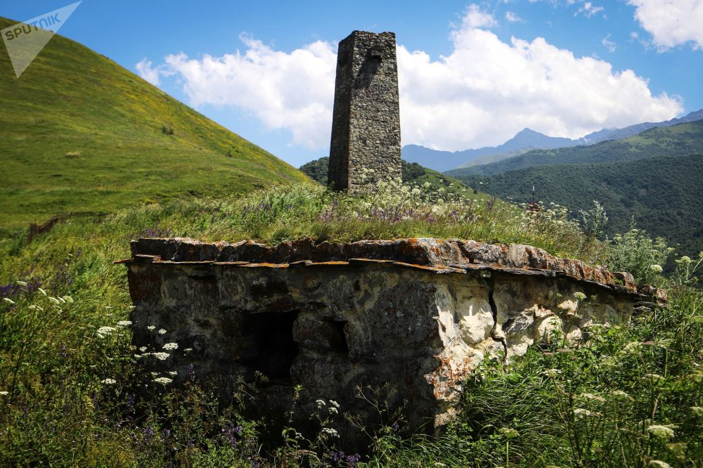 An ancient tomb on the territory of the 'City of the Dead' in Russia's republic of North Ossetia