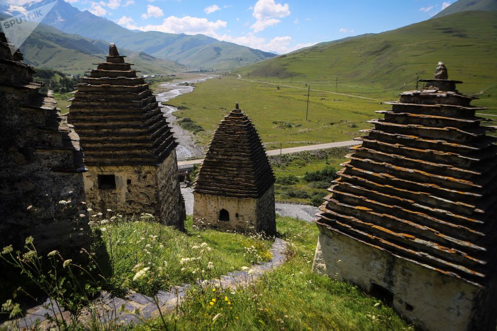 Tombs in the 'City of the Dead' necropolis on the territory of the 'City of the Dead' in Russia's republic of North Ossetia