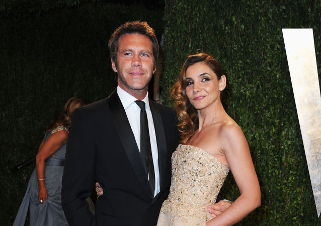 Prince Emmanuel-Philibert of Savoy and Princess Clotilde Courau arrive at the 2013 Vanity Fair Oscar Party hosted by Graydon Carter at Sunset Tower on February 24, 2013 in West Hollywood, California