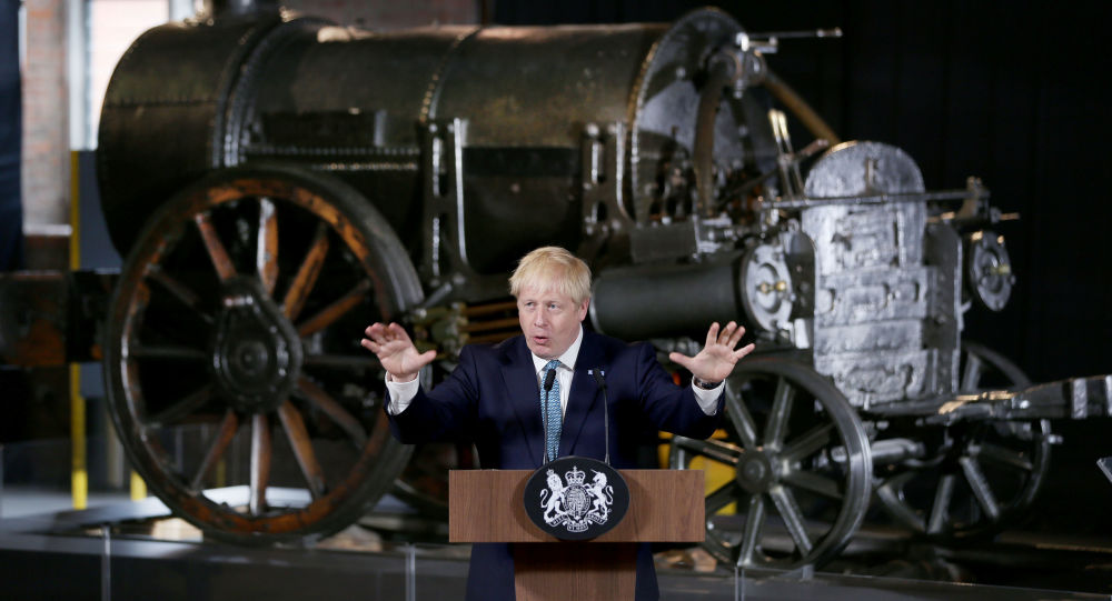 Britain's Prime Minister Boris Johnson gestures during a speech on domestic priorities at the Science and Industry Museum in Manchester, Britain July 27, 2019