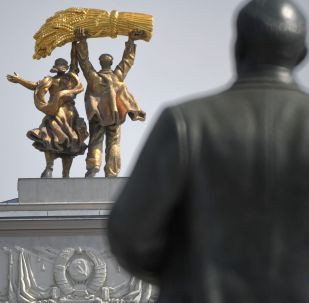 The Worker and Collective Farm Girl statue above the arch at the main entrance to VDNKH park in Moscow.