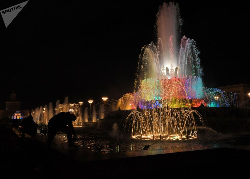 The Stone Flower Fountain at VDNKH park in Moscow.