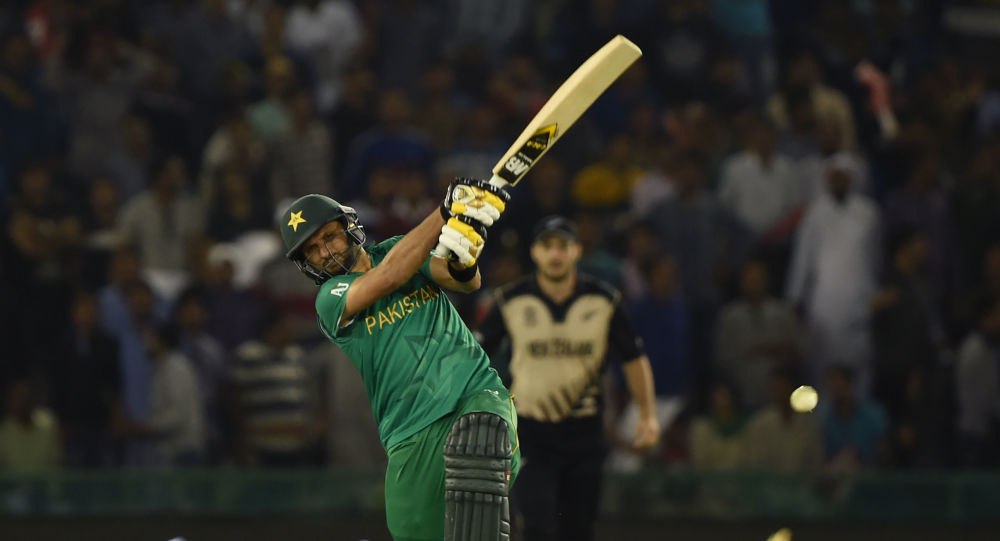 Pakistan's captain Shahid Afridi bats during the World T20 cricket match between New Zealand and Pakistan at the Punjab Cricket Association Stadium in Mohali on 22 March 2016.
