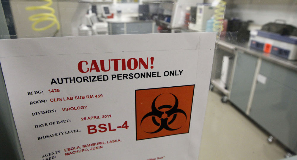 A sign on the door of a Biosafety Level 4 laboratory at the U.S. Army Medical Research Institute of Infectious Diseases in Fort Detrick, Md., Wednesday, Aug. 10, 2011.