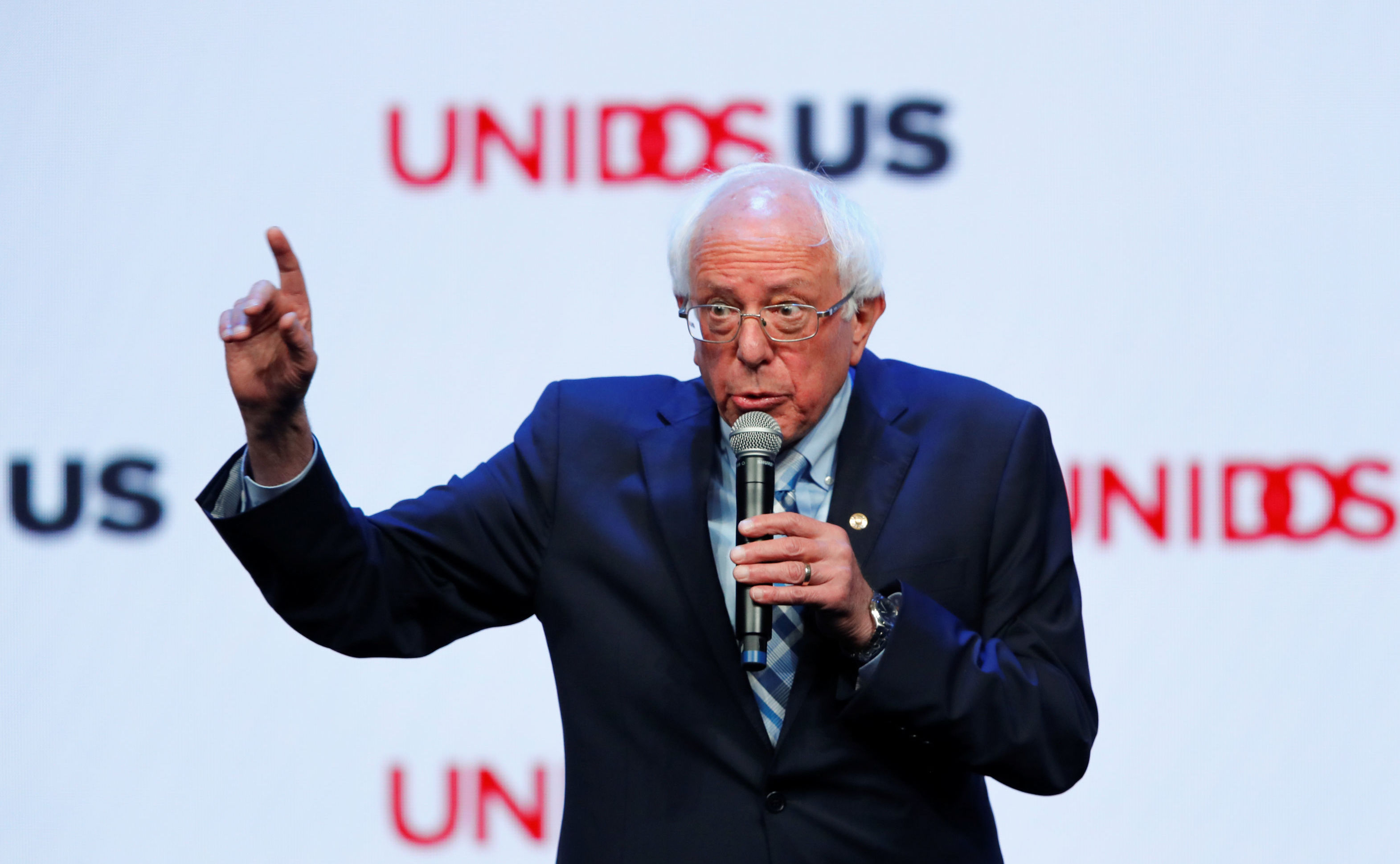 Democratic 2020 presidential candidate and U.S. Senator Bernie Sanders gestures as he speaks at the UnidosUS Annual Conference, in San Diego, California, U.S., August 5, 2019