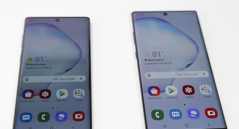 In this Monday, Aug. 5, 2019, photo the Samsung Galaxy Note 10, left, and the Galaxy Note 10 Plus, right, is shown in New York. Samsung's newest smartphone won't have a headphone jack. The Galaxy Note 10 loses that, even though Samsung executives have long poked fun at rivals for ditching it