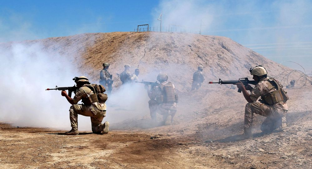 Australian and New Zealand coalition forces participate in a training mission with Iraqi army soldiers at Taji Base, north of Baghdad, Iraq, Wednesday, April 17, 2019.