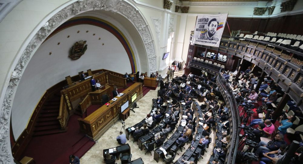 Opposition lawmakers participate in a session at the National Assembly in Caracas, Venezuela