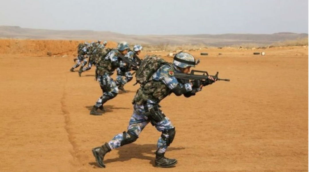 Chinese Troops Drill Outside New Base in Djbouti