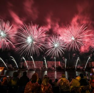 A salute show during the 'Rostech' international festival of fireworks in Moscow.