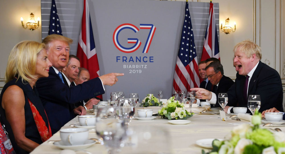 U.S. President Donald Trump and Britain's Prime Minister Boris Johnson hold a bilateral meeting during the G7 summit in Biarritz, France, August 25, 2019.