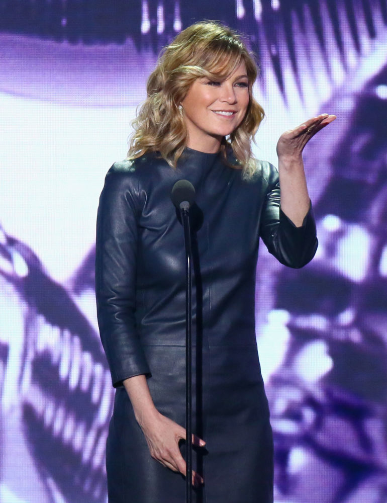 Actress Ellen Pompeo speaks onstage during the 2016 TV Land Icon Awards at The Barker Hanger on April 10, 2016 in Santa Monica, California.