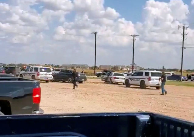Police arrive at Cinergy Odessa cinema following a shooting in Odessa, Texas in this still image taken from a social media video 31 August 2019.