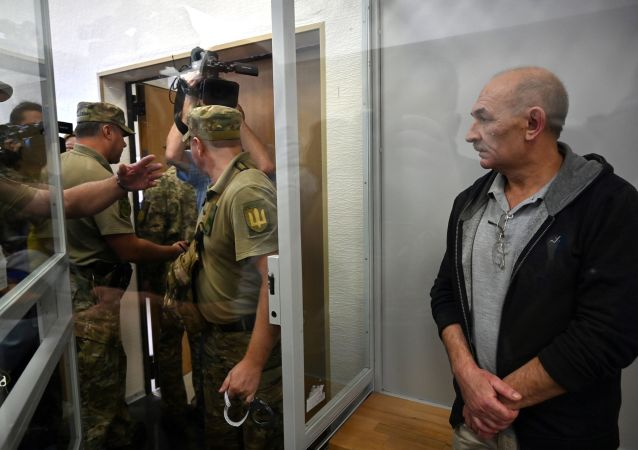 Vladimir Tsemakh, an Ukrainian man suspected of involvement in the downing of flight MH17, is about to leave a dock of Kiev court of appeal after the court verdict in Kiev on September 5, 2019.