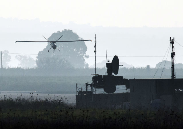 A picture shows an Israeli army UAV landing in an airfield, in the Israeli-annexed Golan Heights (File)