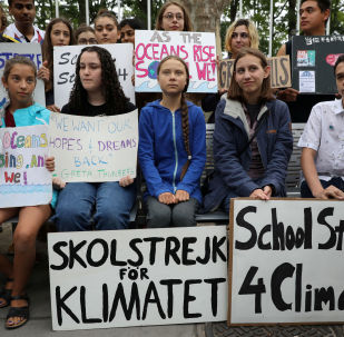 Swedish activist Greta Thunberg and Alexandria Villasenor participate in a youth climate change protest in front of the the United Nations Headquarters in New York City, New York, U.S., September 6, 2019.