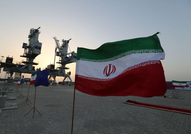 Iranian flags flutter during an inauguration ceremony for new equipment and infrastructure  on 25 February 2019 at the Shahid Beheshti Port in the southeastern Iranian coastal city of Chabahar, on the Gulf of Oman.