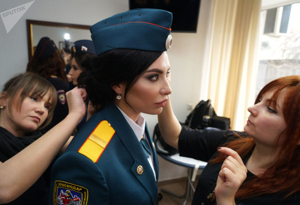 Lady taking part in the 5th annual Beauty in Uniform contest.
