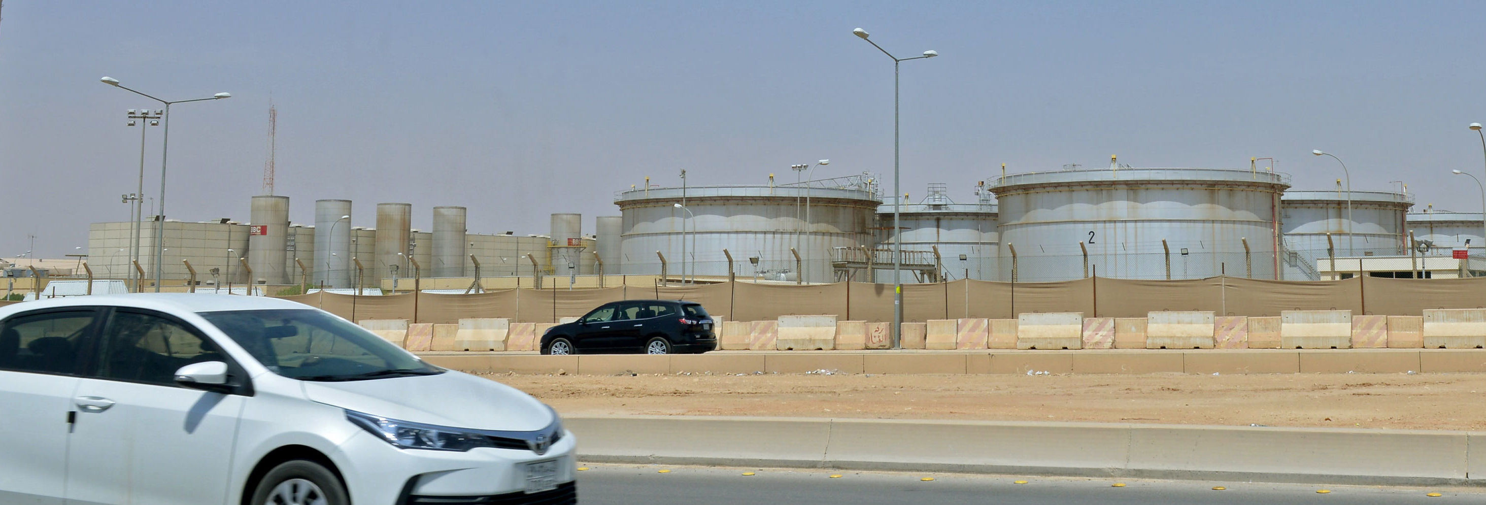 A picture taken on September 15, 2019 shows an Aramco oil facility at the edge of the  Saudi capital Riyadh.