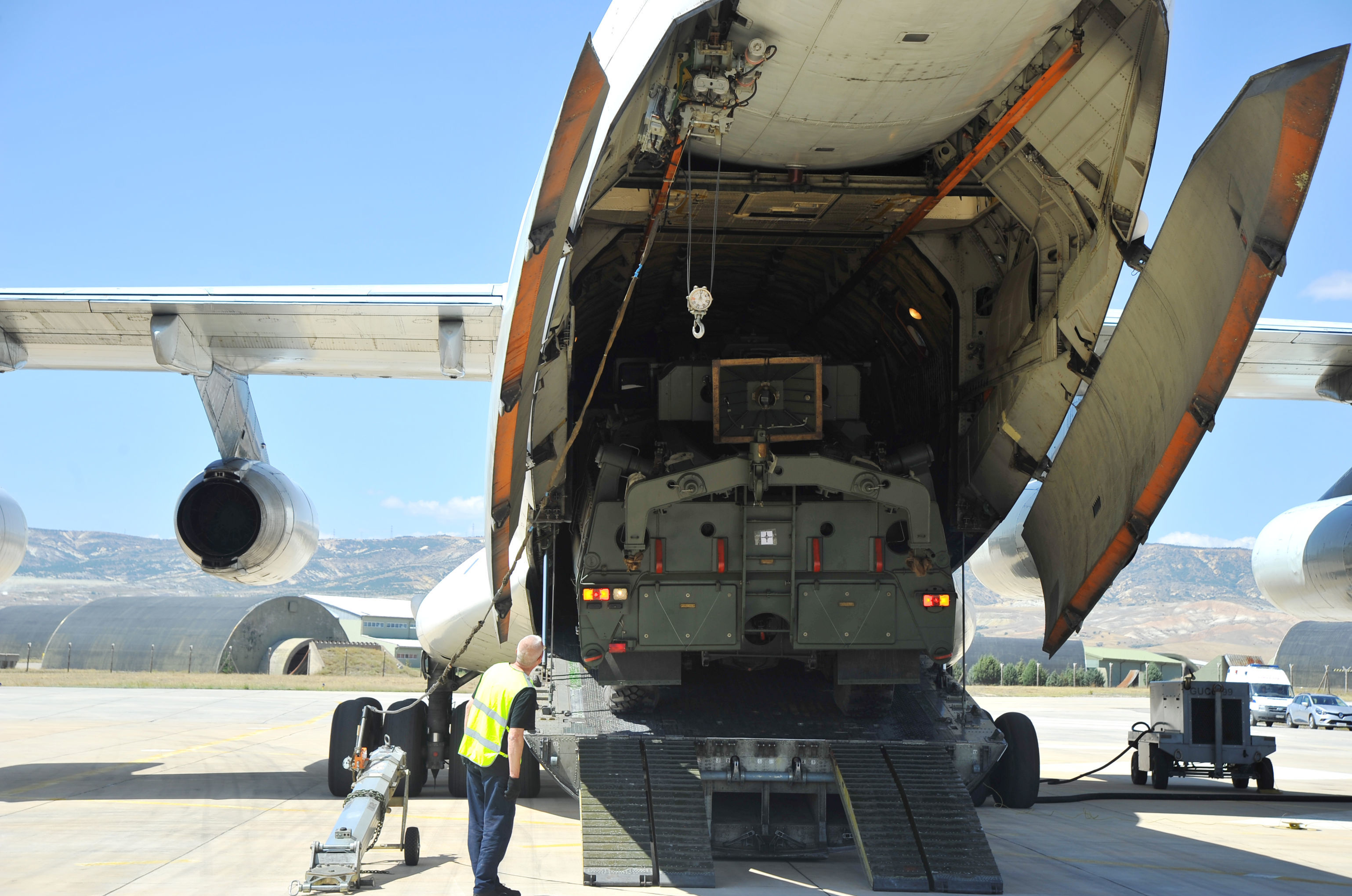 Parts of a Russian S-400 defense system are unloaded from a Russian plane at Murted Airport near Ankara, Turkey, August 27, 2019