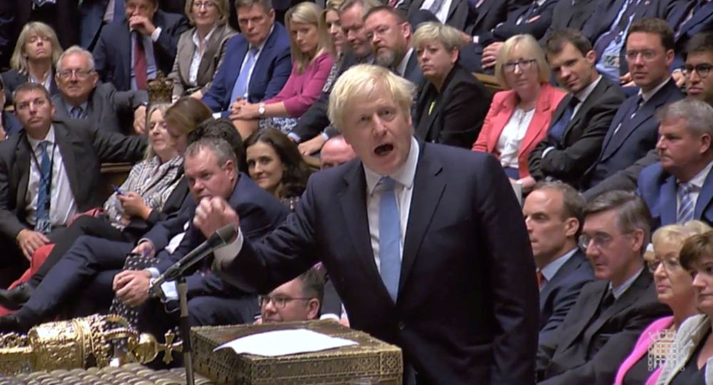 Britain's Prime Minister Boris Johnson speaks after Britain's parliament voted on whether to hold an early general election, in Parliament in London, 10 September 2019, in this still image taken from Parliament TV footage