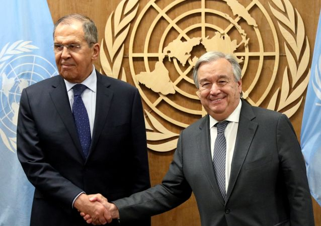 The 74th Assembly General. Russian Foreign Minister Sergey Lavrov meets with Secretary General of the UN António Guterres