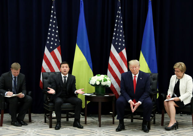 Ukraine's President Volodymyr Zelenskiy speaks as he and U.S. President Donald Trump hold a bilateral meeting on the sidelines of the 74th session of the United Nations General Assembly (UNGA) in New York City, New York, U.S., September 25, 2019