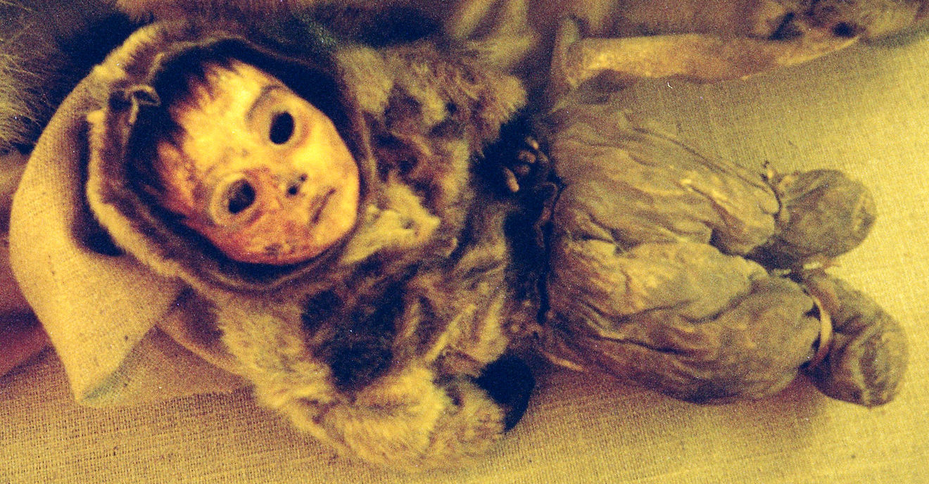 The mummified remains of six month old boy at the Greenland National Museum in Nuuk