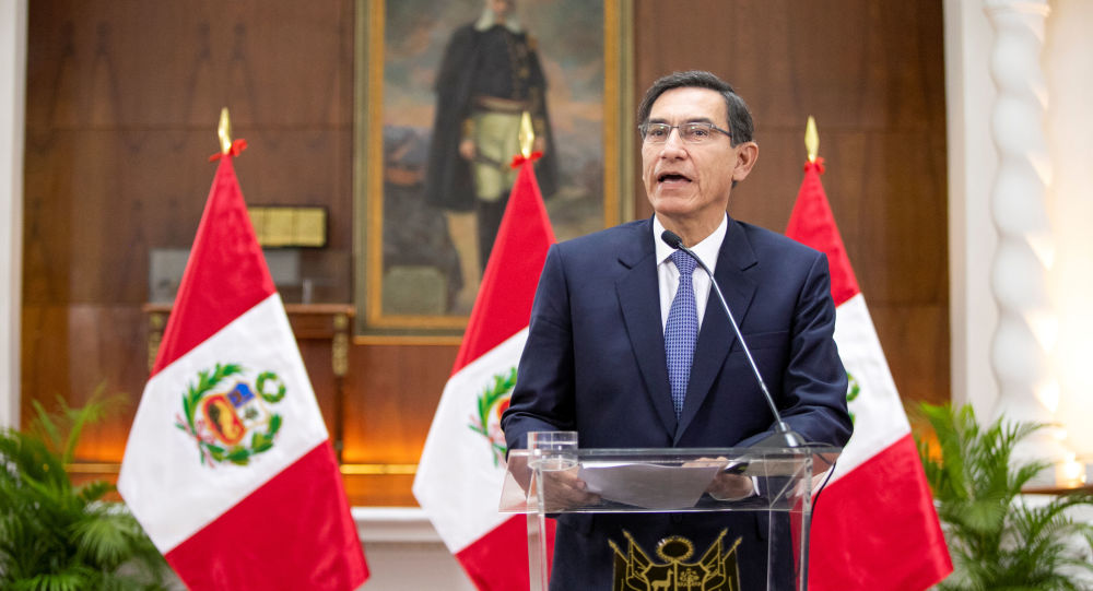 Peru's President Martin Vizcarra addresses the nation, at the government palace in Lima, Peru September 27, 2019.