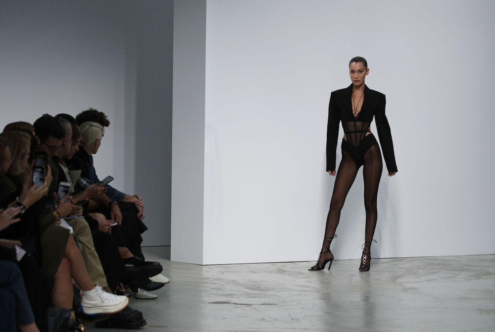 Model Bella Hadid wears a creation as part of the Mugler Ready To Wear Spring-Summer 2020 collection, unveiled during the fashion week, in Paris, Wednesday, Sept. 25, 2019.