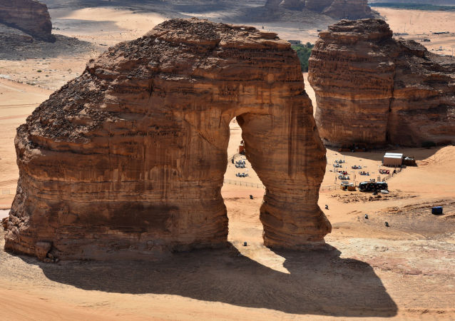 This file photo taken on February 11, 2019, shows an aerial view of the Elephant rock in the Ula desert near the northwestern Saudi town of al-Ula.