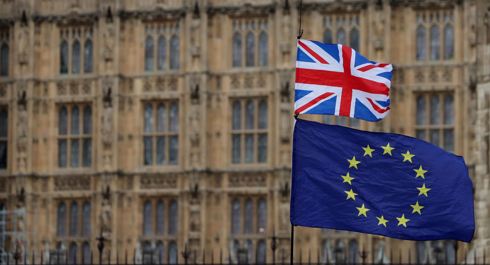 In this file photo taken on January 23, 2019 an anti-Brexit activist waves a Union and a European Union flag as they demonstrate outside the Houses of Parliament in central London