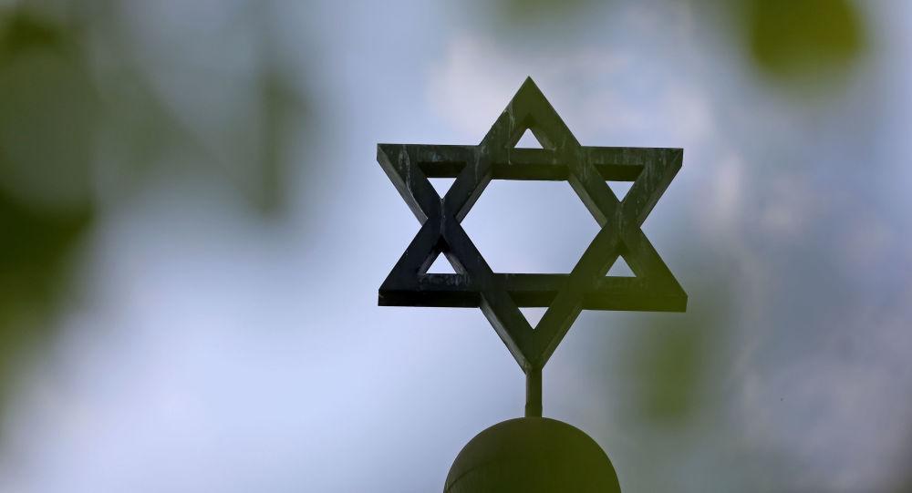 Picture taken on May 5, 2013 shows a Star of David on the synagogue of the Jewish community in Halle an der Saale, eastern Germany