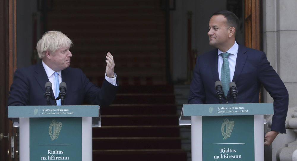 Britain's Prime Minister Boris Johnson, left, meets with Ireland's Prime Minister Leo Varadkar