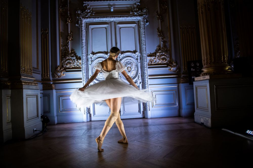 A dancer of the Paris Opera Ballet performs during the dancing show Degas Danse on the sidelines of the exhibition Degas at the Opera at the Orsay Museum in Paris on October 9, 2019.