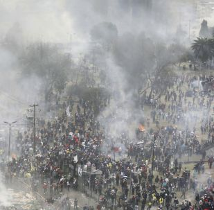 Smoke and tear gas rises over La Casa de la Cultura as anti-government demonstrators begin to vacate the area, after clashes with the police in Quito