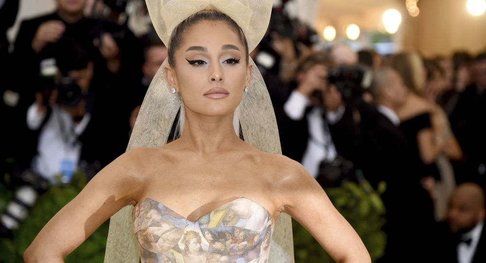 Ariana Grande attends The Metropolitan Museum of Art's Costume Institute benefit gala celebrating the opening of the Heavenly Bodies: Fashion and the Catholic Imagination exhibition on Monday, May 7, 2018, in New York.