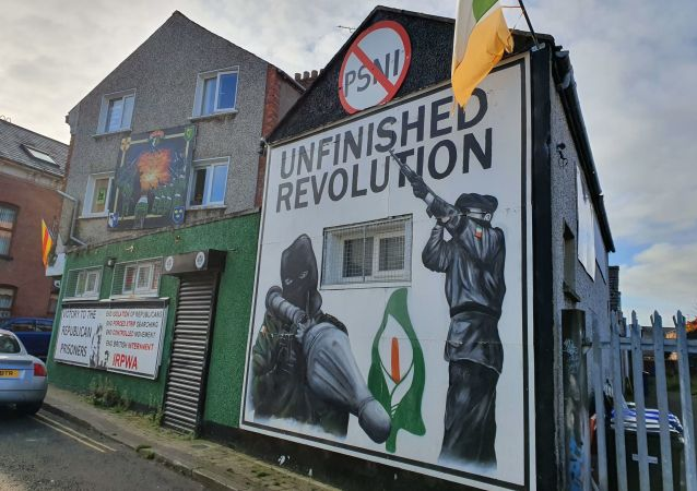 A mural outside the Saoradh office - the political wing of the New IRA - in Derry