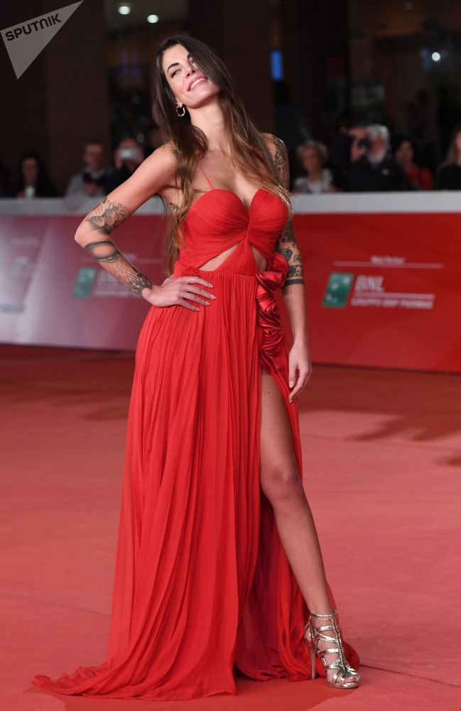 Model Giada Giovanelli on the red carpet during the premiere of Lorene Scafaria's 'Hustlers' at the 14th Rome Film Festival