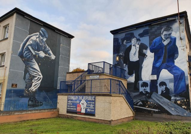 Repubulican murals showing scenes from The Troubles in the Bogside area of Derry, Northern Ireland