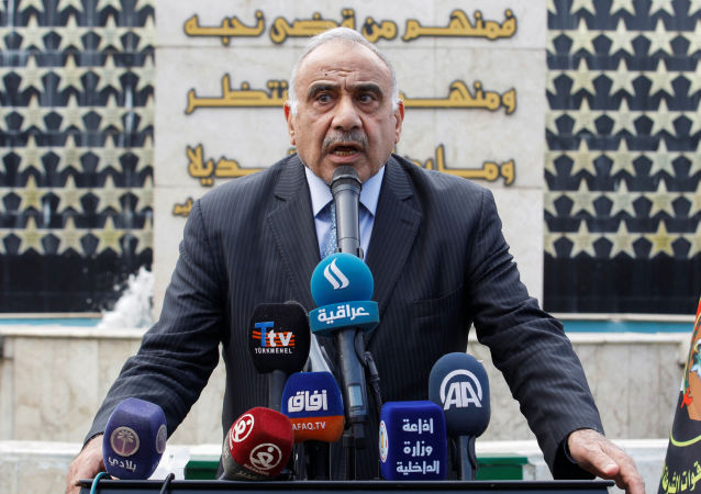 Iraqi Prime Minister Adel Abdul Mahdi speaks during a symbolic funeral ceremony of Major General Ali al-Lami, who commands the Iraqi Federal Police's Fourth Division, who was killed in Salahuddin, in Baghdad, Iraq October 23, 2019.