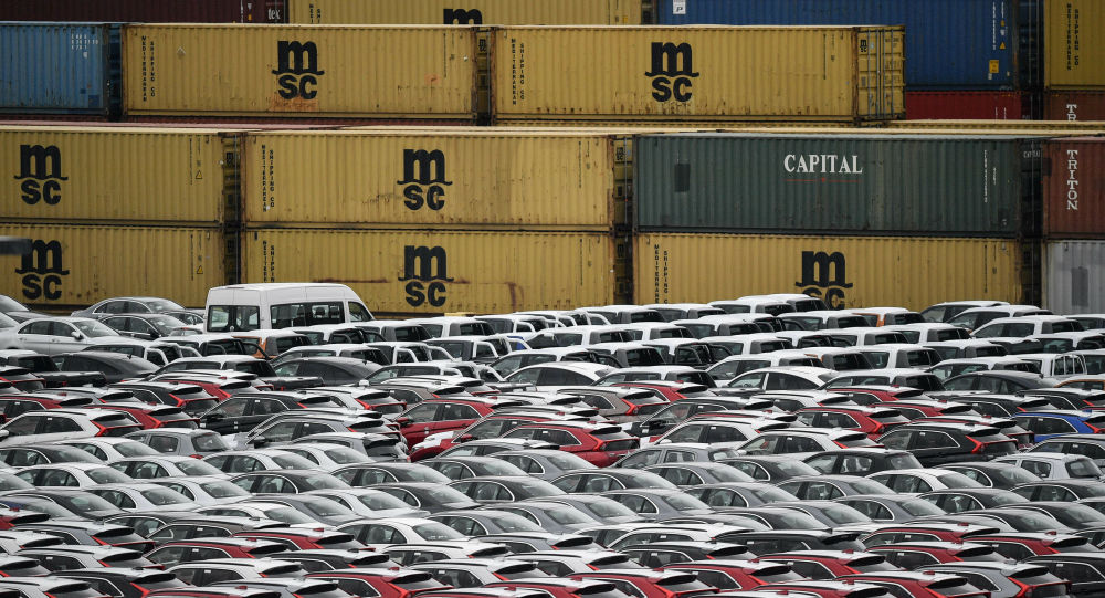 Cars for export and import are stored at the harbor in Bremerhaven